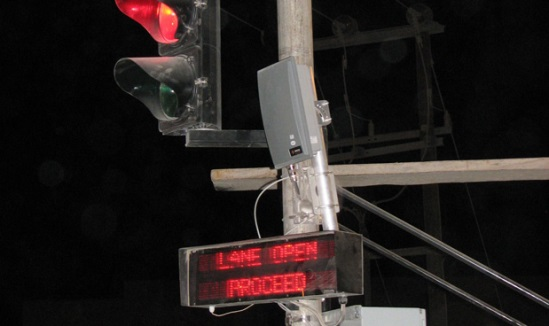 AVI reader lane signals and variable message sign